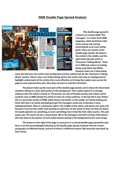 NME Double Page Spread Analysis