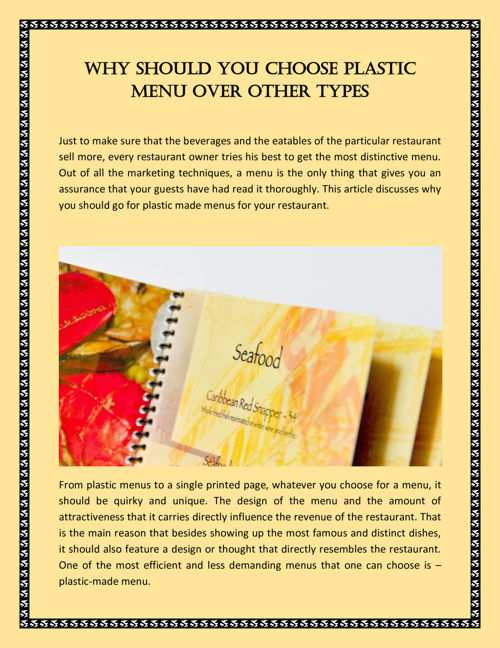 Why Should You Choose Plastic Menu Over Other Types