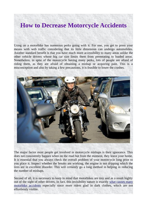 How to Decrease Motorcycle Accidents