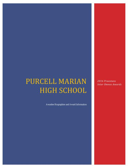 2016 Purcell Marian Praestans Awards