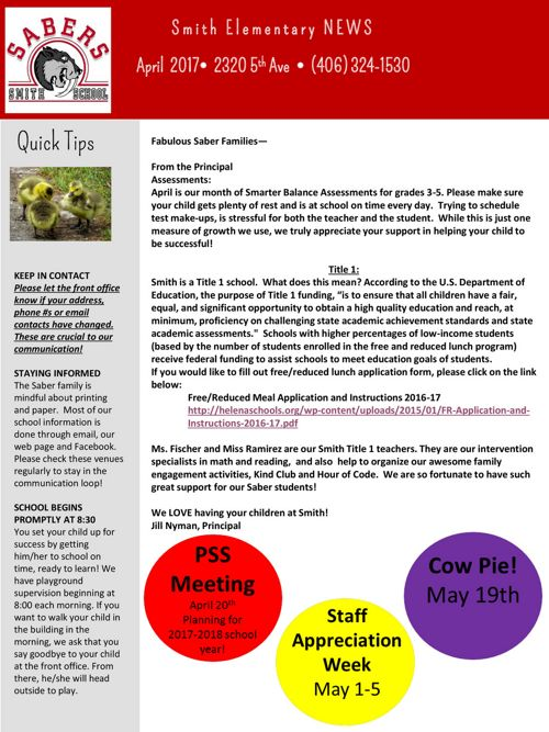 Revised Smith Newsletter April
