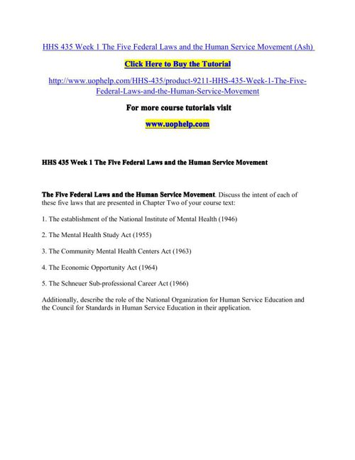 HHS 435 Squared Instruction/uophelp