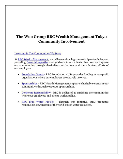The Woo Group RBC Wealth Management Tokyo Community Involvement