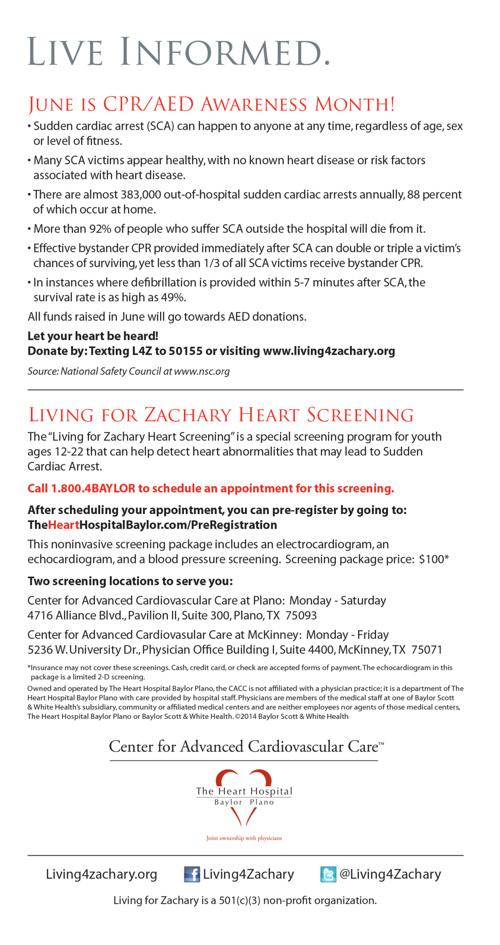 Copy of Living for Zachary Newsletter June 2014