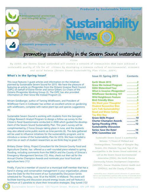 Sustainble Severn Sound: Spring 2015 Newsletter, Issue III
