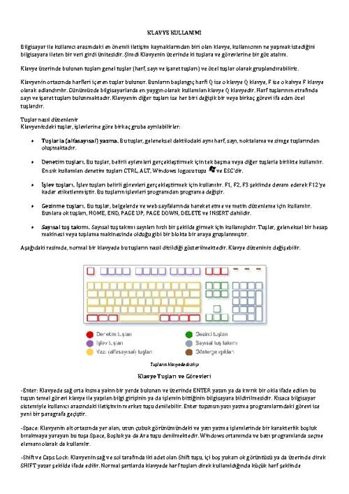 Klavye Kullanımı