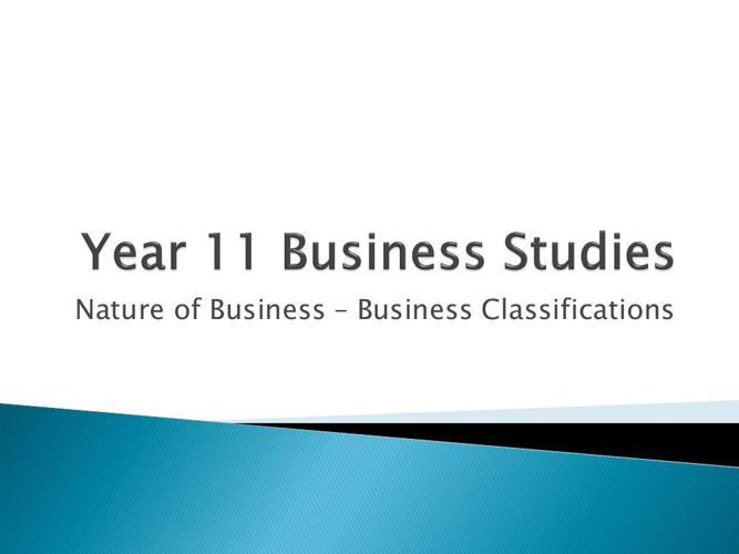 Part 2 - Business Classification