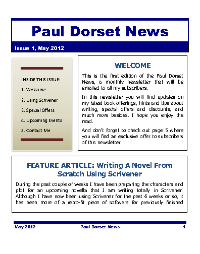 Paul Dorset News - May 2012