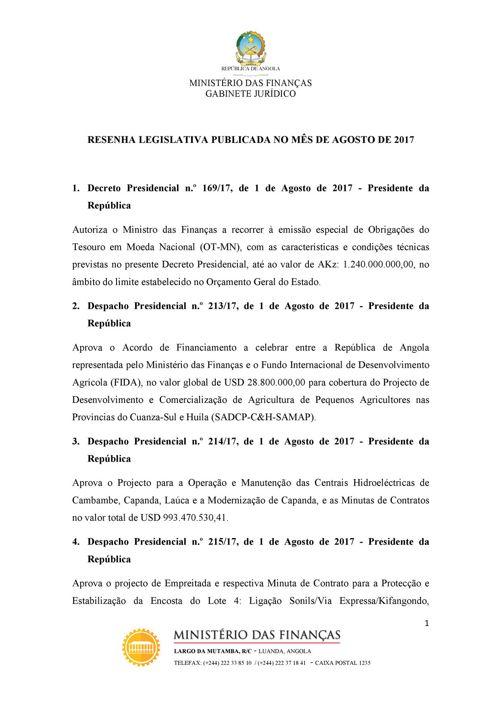 Resenha Legislativa-Agosto 2017