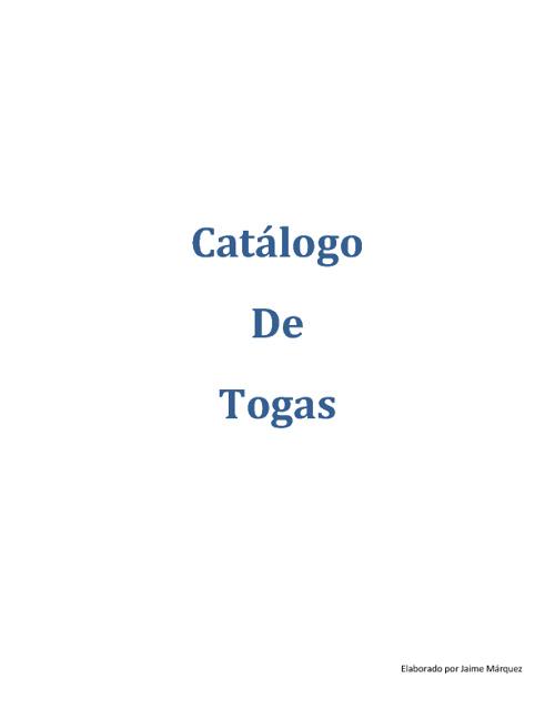 Catálogo Togas y Birretes