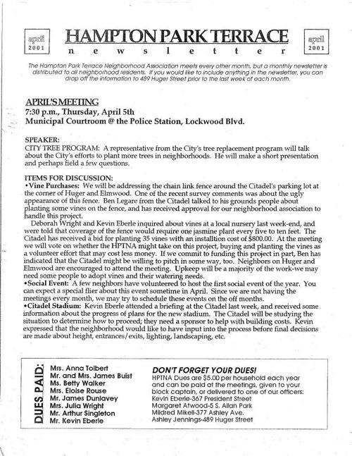 HPT Neighborhood April 2001
