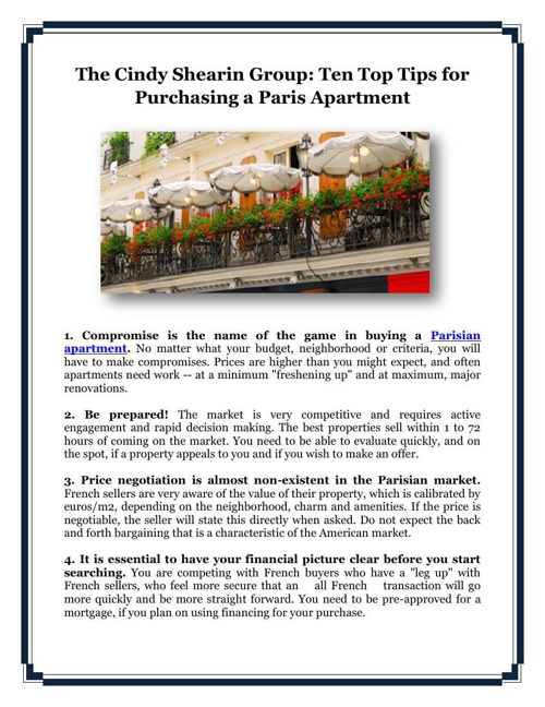 The Cindy Shearin Group: Ten Top Tips for Purchasing a Paris Apa