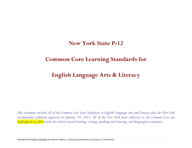 NY State Common Core Learning Standards for ELA