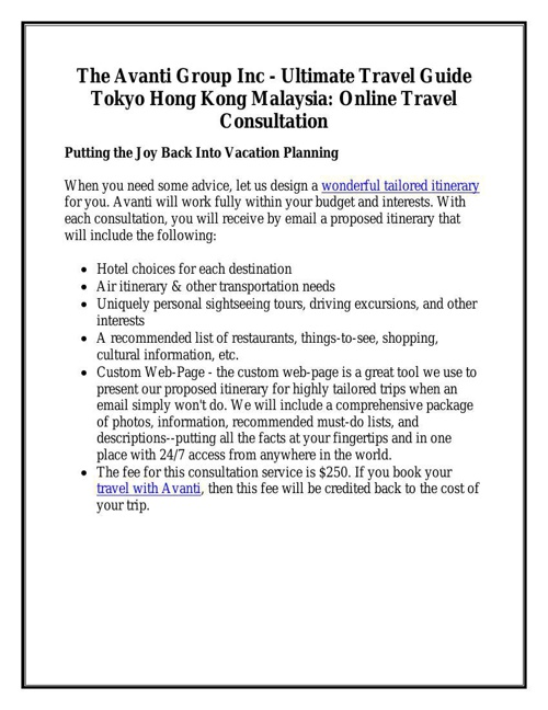 Online Travel Consultation