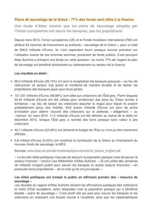 Plans de sauvetage de la Grèce : 77% pour la finance