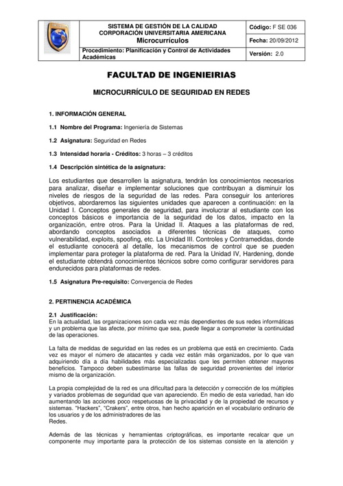 Microcurriculo Seguridad en Redes