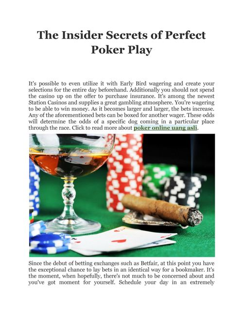 The Insider Secrets of Perfect Poker Play