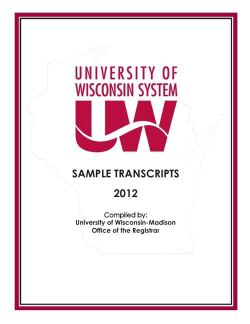 University of Wisconsin System Sample Transcripts