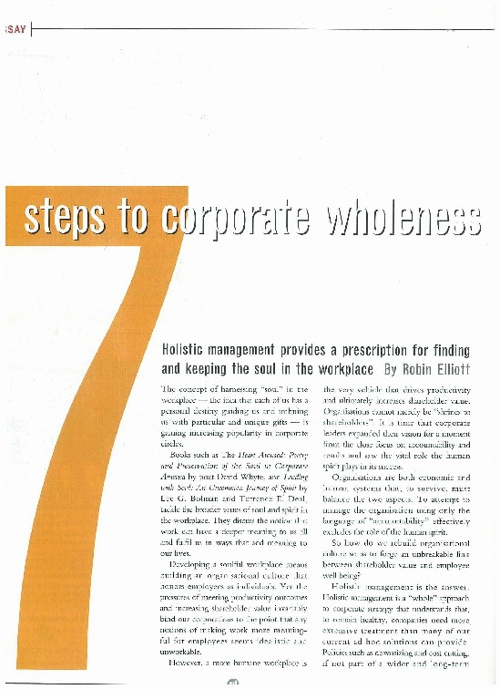 7 Steps To Corporate Wholeness