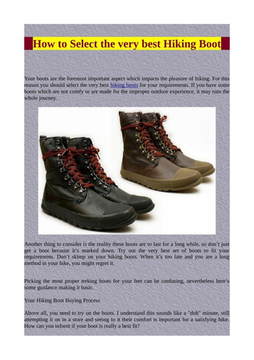 How to Select the very best Hiking Boot