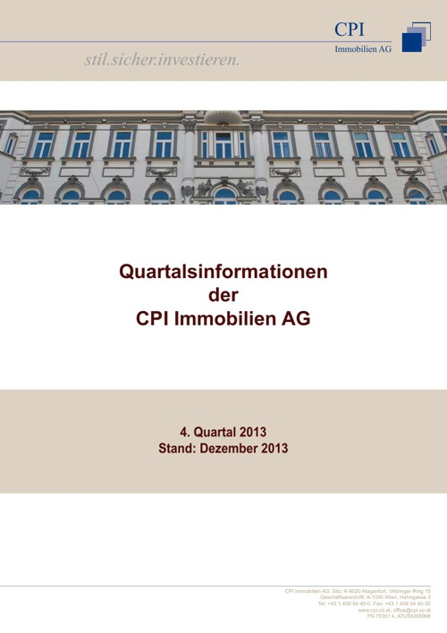 Quartalsinformationen 4. Quartal 2013