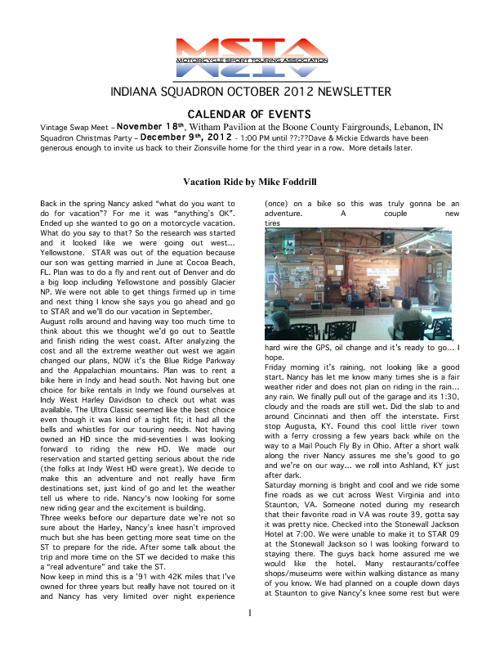 October 2012 Indiana MSTA Newsletter