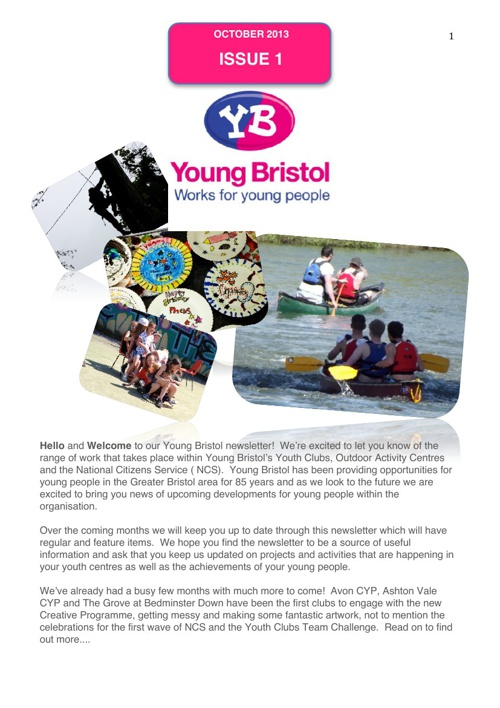 Young Bristol Newsletter Issue 1