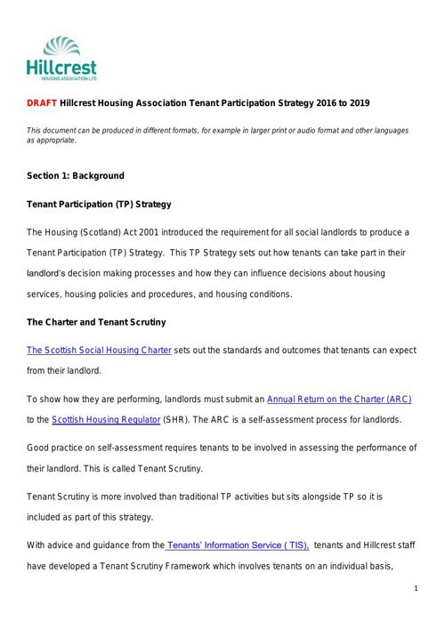 Draft Tenant Participation Strategy 2016 to 2019