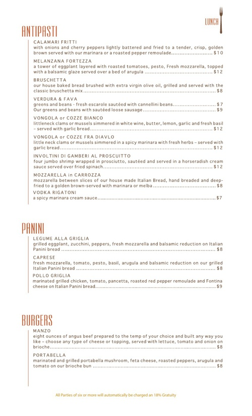 Marotta's Bar-Risto Menu