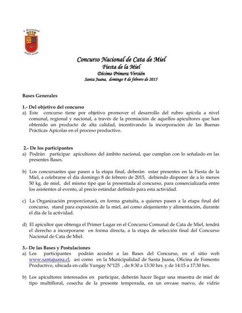 Bases Concurso Nacional de Cata de Miel 2015