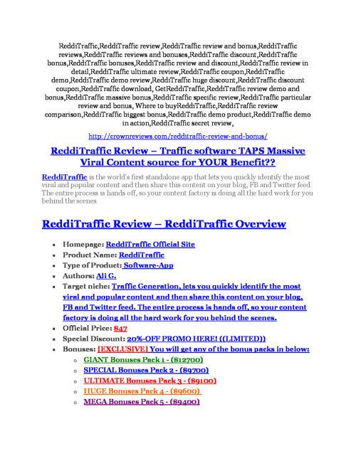 ReddiTraffic Review and ReddiTraffic (EXCLUSIVE) bonuses pack