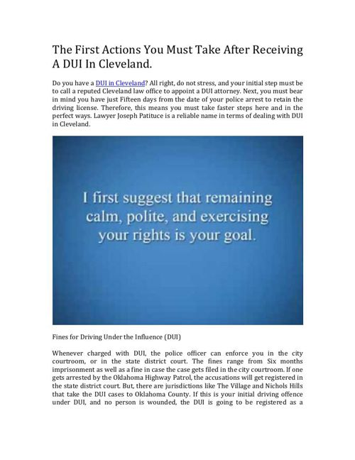 The First Steps You Should Take After Getting A DUI In Cleveland