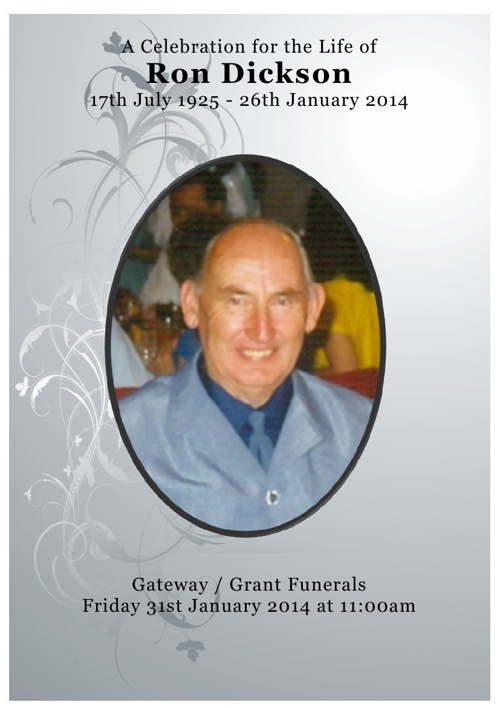 4 Order of Service for Ronald Stanley Dickson
