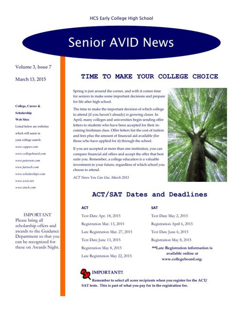 Senior Avid Newsletter #7 - 15
