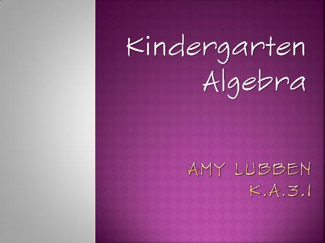 Kindergarten Algebra