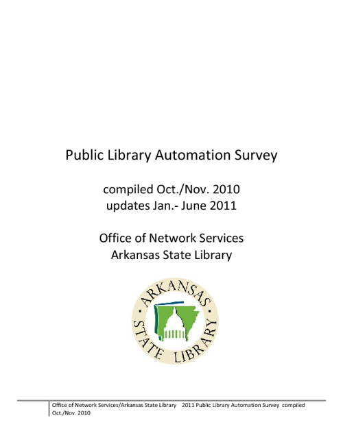Arkansas Public Library Automation Survey