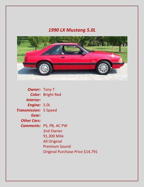 1990-2003 Members' Cars