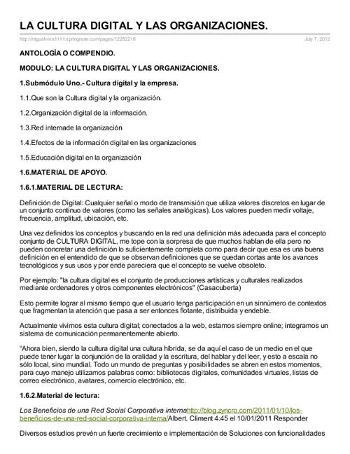 CULTURA DIGITAL Y LAS ORGANIZACIONES ANTOLOGIA
