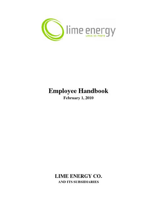 Lime Energy Employee Handbook
