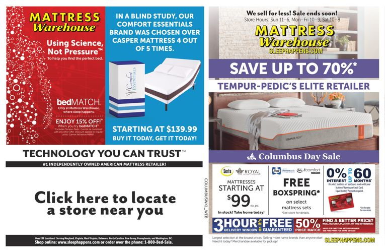 Mattress Warehouse Columbus Day Sale