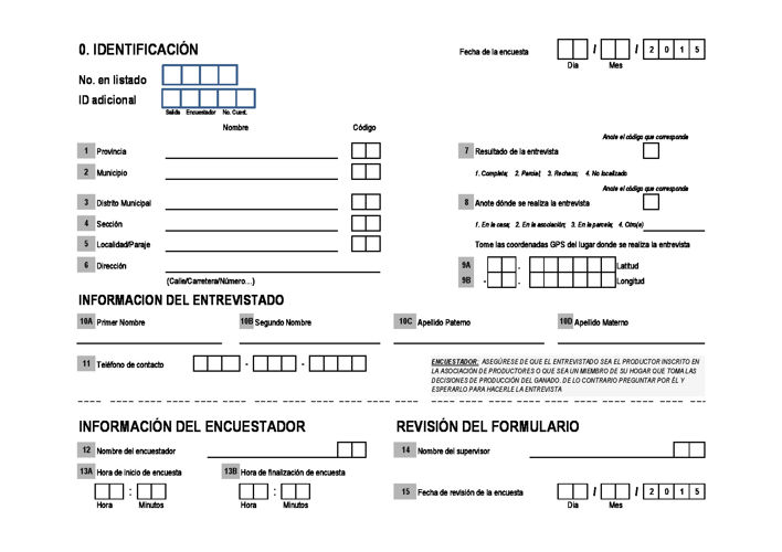 Questionnaire - Dairy farmers - Dominican Republic