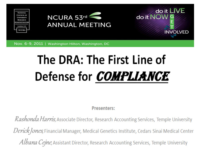 The DRA The First Line of Defense for Compliance
