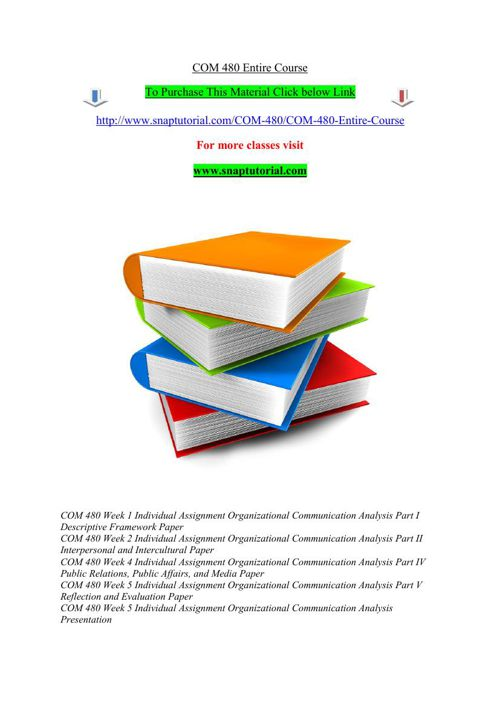 COM 480 Entire Course