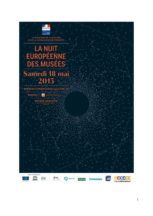 Programme Nuit des musées 2013