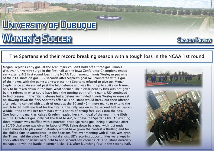 University of Dubuque Women's Soccer 2014 Newsletter: Season Rev
