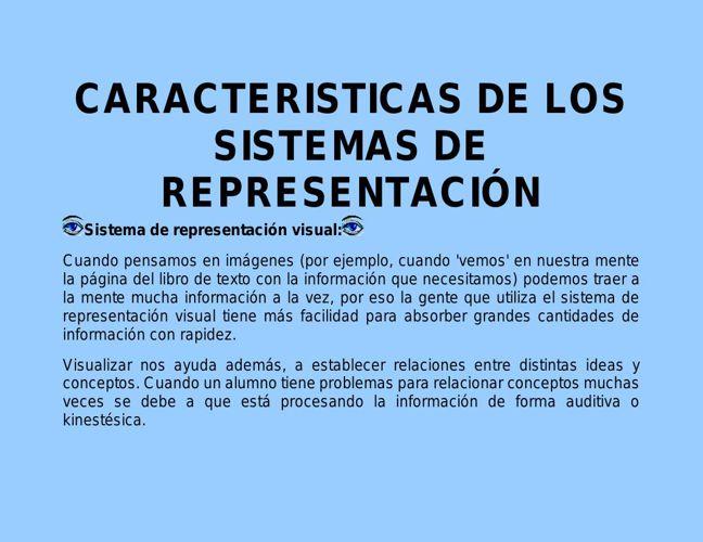 CARACTERISTICAS DE LOS SISTEMAS DE REPRESENTACIÓN