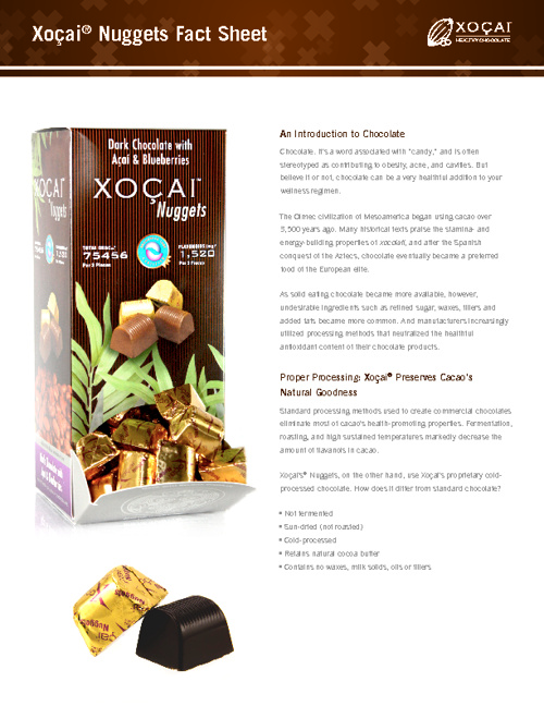 Xocai Product Fact Sheets
