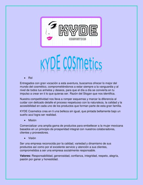 mision vison kyde cosmetics