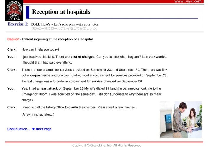 No.02 Reception at hospitals