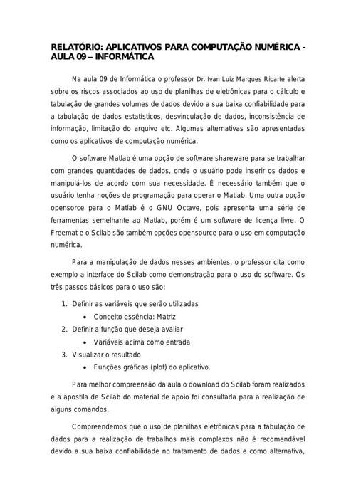Relatório Aula 09 - Informática